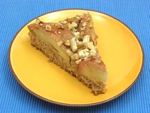 One slice of  a wholemeal apple cake Royalty Free Stock Photography