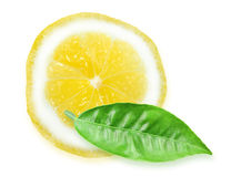 Slice of yellow lemon and green leaf Stock Photography