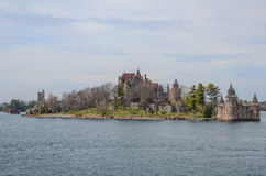 One small Island and beach castle on St Lawrence river Royalty Free Stock Image