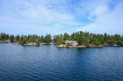 One small Island and beach castle on St Lawrence river Royalty Free Stock Photo