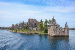 One small Island and beach castle on St Lawrence river Stock Image