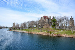 One small Island and beach castle on St Lawrence river Stock Photos