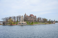 One small Island and beach castle on St Lawrence river Royalty Free Stock Images