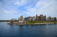 One small Island and castle on St Lawrence river Royalty Free Stock Photos