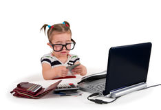 One small little girl calling phone. Royalty Free Stock Images