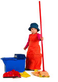 One small little girl cleaning with mop. Stock Photo