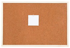 One small sheet of paper on bulletin cork board Royalty Free Stock Images