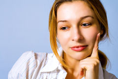One smart woman thinking solutions Royalty Free Stock Images