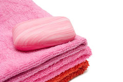 One soap on towels isolated Royalty Free Stock Photo