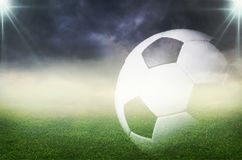 One soccer ball on green field. Ball soccer game sport green activity competition royalty free stock photography