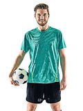 One soccer player man standing isolated white background Royalty Free Stock Images