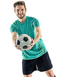 One soccer player man standing isolated white background Stock Image