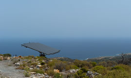 One solar battery panel on the mountain steep Royalty Free Stock Photos