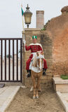 One soldier sits on the horse to protect the entrance of Mausole Royalty Free Stock Photos