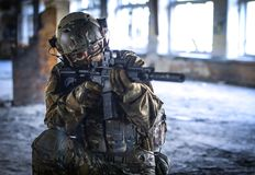 One soldier in combat gear royalty free stock photos