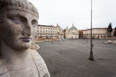 One of the Sphinx in front of People`s Square, Rome.  royalty free stock images