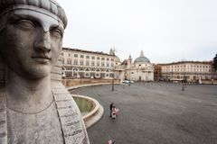 One of the Sphinx in front of People`s Square, Rome.  stock photography