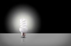 One spiral light bulb on black background Stock Photo