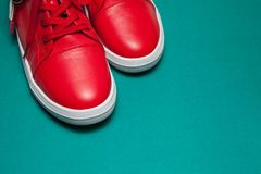One sport red sneakers on blue background. One sport red leather sneakers on blue background stock photos