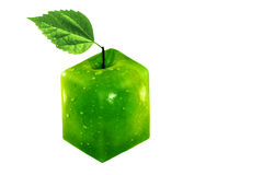 One square apple isolated on white. Green apple with cube form, isolated on white Royalty Free Stock Photos