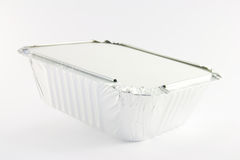 One square foil catering tray. On a white background Royalty Free Stock Photo