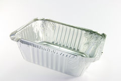 One square opened tray. 1 square opened catering tray Royalty Free Stock Images