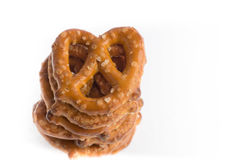 One stack of baked pretzels on white. Close up photography of 1 stack of baked pretzels on white stock photography