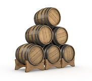 Wooden barrels vector illustration