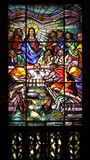 Jesus Last supper. One of the stained glass windows of the Church of Saint Ildefonso in Porto, Portugal, made ​​by the artist Isolino Vaz in 1967. This one Royalty Free Stock Photos