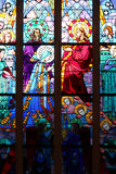 One of the stained-glass windows of the Immaculate chapel in Nantes, France, represents the crowning of the Virgin by the Christ Royalty Free Stock Photography