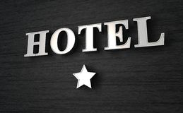 One star hotel. Closeup of a one star hotel sign Royalty Free Stock Photography