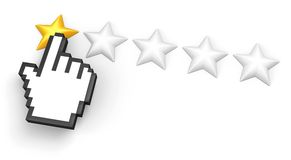One star rating. Hand cursor. Voting concept. Rating one star. Hand cursor. Isolated on white Royalty Free Stock Photo