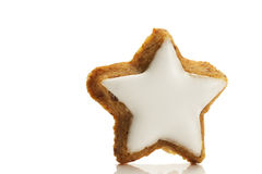 One star shaped cinnamon biscuit. On white background Stock Image