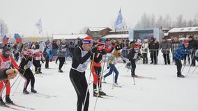 One of starts during the Ski Track of Russia 2017 stock video footage