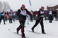 One of starts during the Ski Track of Russia 2017 Royalty Free Stock Photography