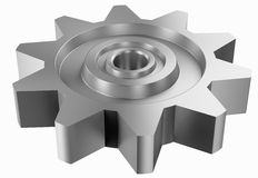 Cogwheel on white perspective view Royalty Free Stock Photo
