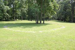 One of the Stone Circle at Fort Ancient State Memorial. Fort Ancient State Memorial is a collection of Native American Earthworks which is located in Ohio Royalty Free Stock Photo