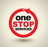 One stop services with red arrow circle. Stock Images