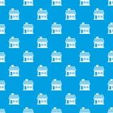 One-storey άνευ ραφής μπλε σχεδίων σπιτιών Στοκ φωτογραφία με δικαίωμα ελεύθερης χρήσης