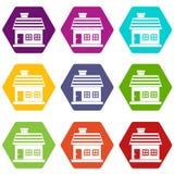 One-storey καθορισμένο χρώμα εικονιδίων σπιτιών hexahedron Στοκ φωτογραφία με δικαίωμα ελεύθερης χρήσης