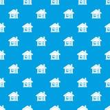 One-storey σπίτι με ένα άνευ ραφής μπλε σχεδίων καπνοδόχων Στοκ Εικόνες