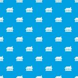 One-storey σπίτι με το άνευ ραφής μπλε σχεδίων τριών παραθύρων Στοκ εικόνα με δικαίωμα ελεύθερης χρήσης