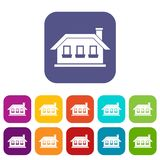 One-storey σπίτι με τρία εικονίδια παραθύρων καθορισμένα Στοκ φωτογραφίες με δικαίωμα ελεύθερης χρήσης
