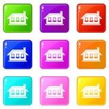 One-storey σπίτι με τρία εικονίδια παραθύρων 9 σύνολο Στοκ Εικόνες