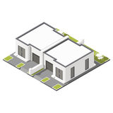 One storey connected cottage with flat roof isometric icon set Stock Images