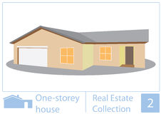 One storey house. Illustration of one storey house Stock Image