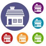One-storey house icons set Stock Photography