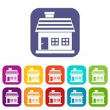 One-storey house icons set. Vector illustration in flat style in colors red, blue, green, and other Royalty Free Stock Images