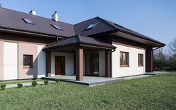 One storey house. Modern project of one storey commodious house royalty free stock images