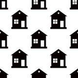 One storey house pattern seamless on white background. Flat design. Illustration Stock Photography